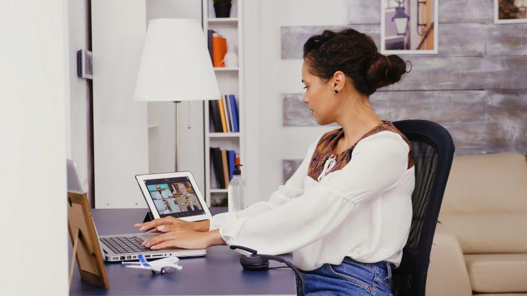 Woman in slow motion on laptop